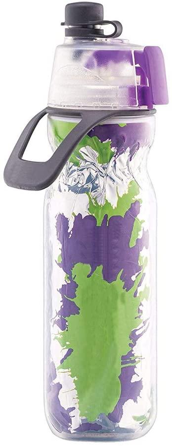 Insulated Sports Bottle Water Bottle Spray Bottle Working Out 20 oz Bottle. BPA Free for Adults & Children - 2 Packs of Water Bottles, Green/Purple Splash