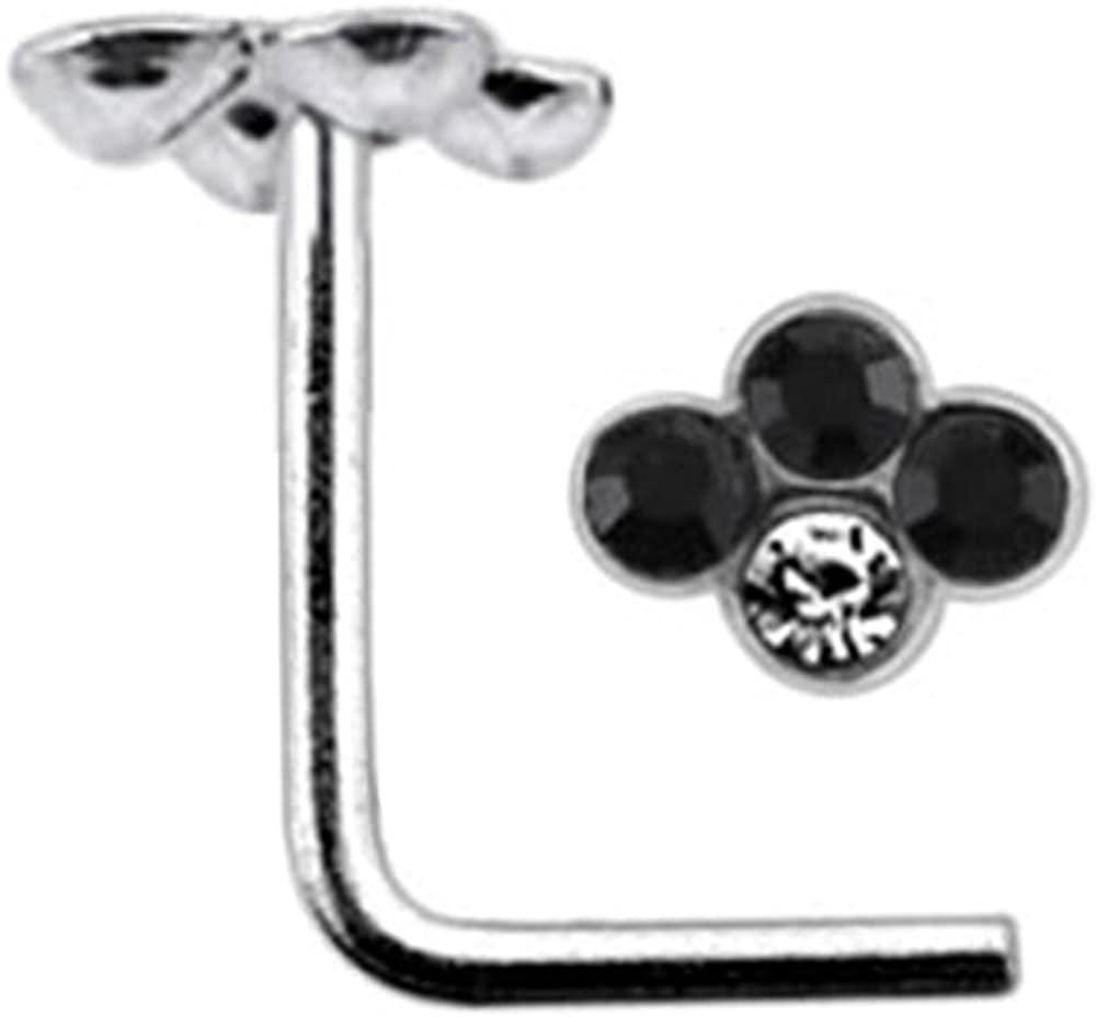 AtoZ Piercing Jeweled Diamond Shape Top 22 Gauge Silver L Shape - L Bend Nose Stud Nose Pin
