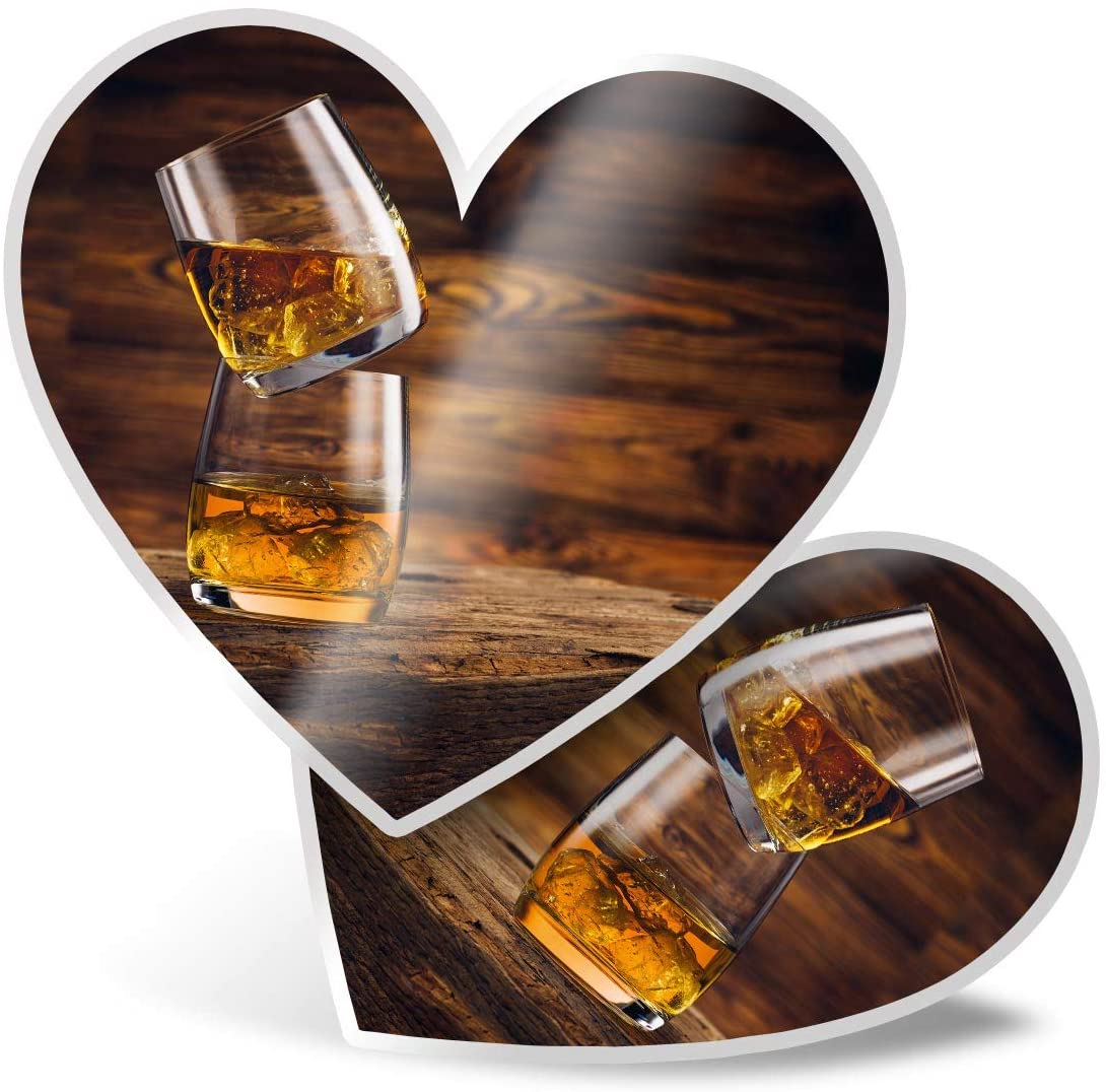 Awesome 2 x Heart Stickers 7.5 cm - Whiskey Glasses Drink Whisky Alcohol Fun Decals for Laptops,Tablets,Luggage,Scrap Booking,Fridges,Cool Gift #16204