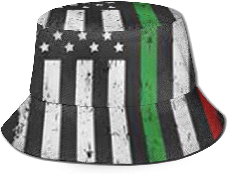 Neddelo Italian American Thin Line Flag Summer Fisherman's Cap, Fashion Sun Hat, Breathable Washed Beach Bucket Hat for Men Women