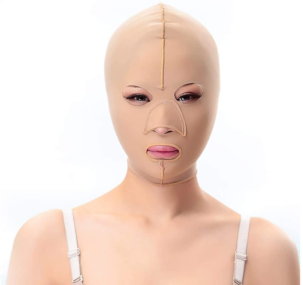 L.HPT Slimming Belt,Facial Mask Thin Face Mask to Decree Pattern Lifting Double Chin Firming Facial Plastic Face Artifact Powerful Face Bandage (Size : M)