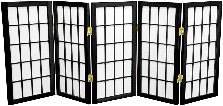 Oriental Furniture 2 ft. Tall Desktop Window Pane Shoji Screen - Black - 5 Panels