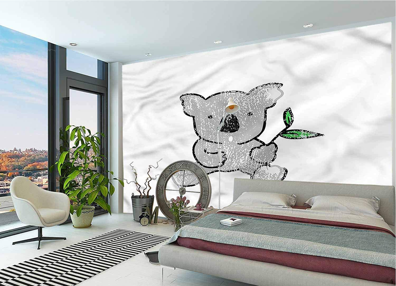 LCGGDB Koala Wall Mural Decal,Cartoon Style Drawing Bear Removable Large Wall Mural for Livingroom Bedroom Nursery School Family Wall Decals-144x100 Inch