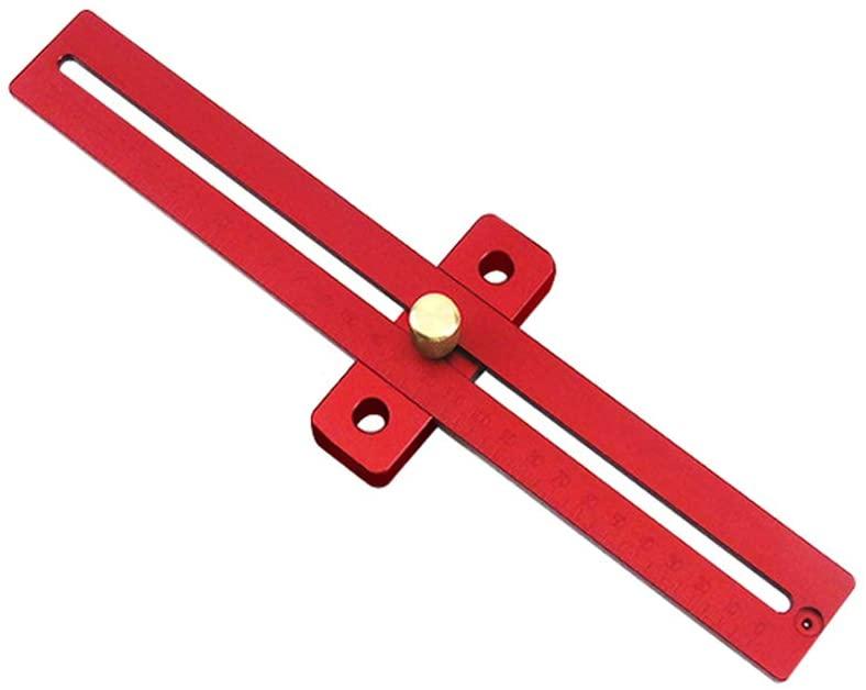 Hukai Portable DIY Aluminum Scale Wood Measure Ruler Straight Line Drawing T Rule Woodworking Marking Gauge Tool (Medium)