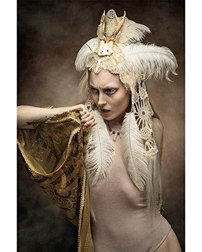 Pagan wedding deer skull headdress/Off white antler headdress with ostrich feathers, cotton veil, vintage lace, yak hair fringe/OOAK