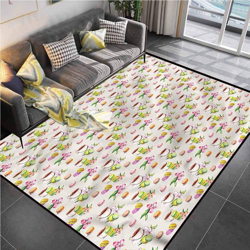 Area Rugs Print Large Carpet Kitchen,Macaroons with Tea Cups Desk Chair mat for Carpet for Living Playing Dorm Room Bedroom 4'7