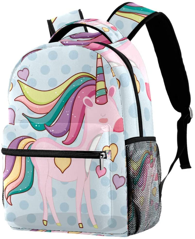 Cute Unicorn Animal With Hearts And Hairstyle Backpack Students Shoulder Bags Travel Bag College School Backpacks