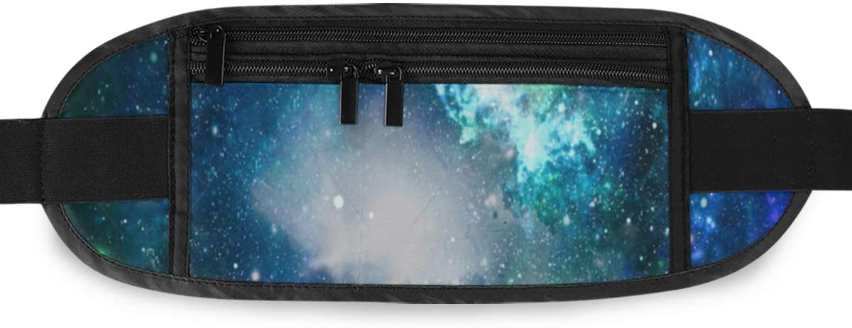 SLHFPX Starry Space Night Sky Hidden Money Belt,Fanny Pack,Running Belt,Travel Wallet Pouch,Wasit Packs Bag,Passport Holder,Bum Bag,Belt Bags for Women Men