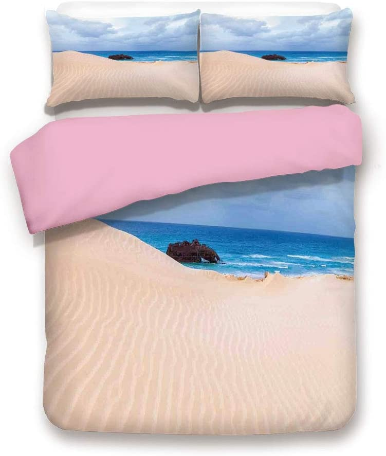 Pink 3pc Bedding Set,Boat Crash by Exotic Tropical Beach in African Shore Dream Atlantic Ocean Photo Full Size Duvet Cover Set,Printed Comforter Cover with 2 Pillowcases for Women & Girls