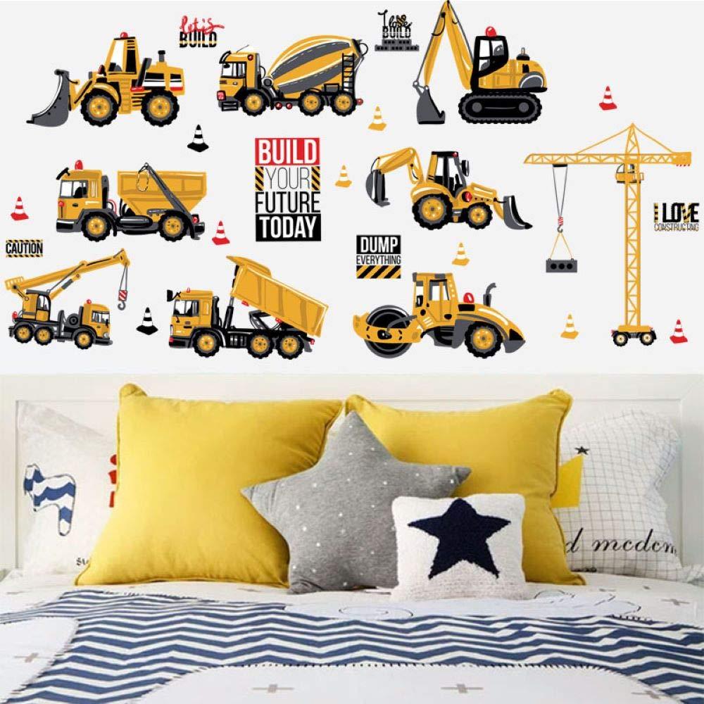 Cartoon City Construction Vehicle Wall Decals Excavator Decorative Wall Stickers Art Decals for Kids Boys Nursery Bedroom (Normal)