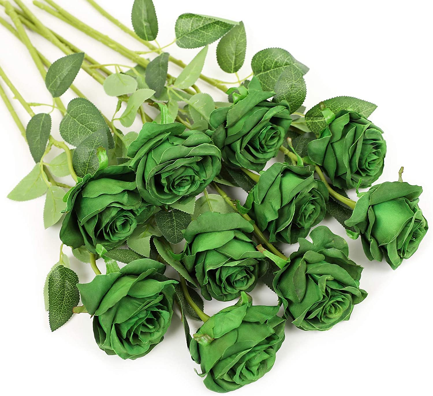 Veryhome Artificial Flowers Silk Roses Real Touch Bridal Wedding Bouquet for Home Garden Party Floral Decor 10 Pcs (Dark Green)