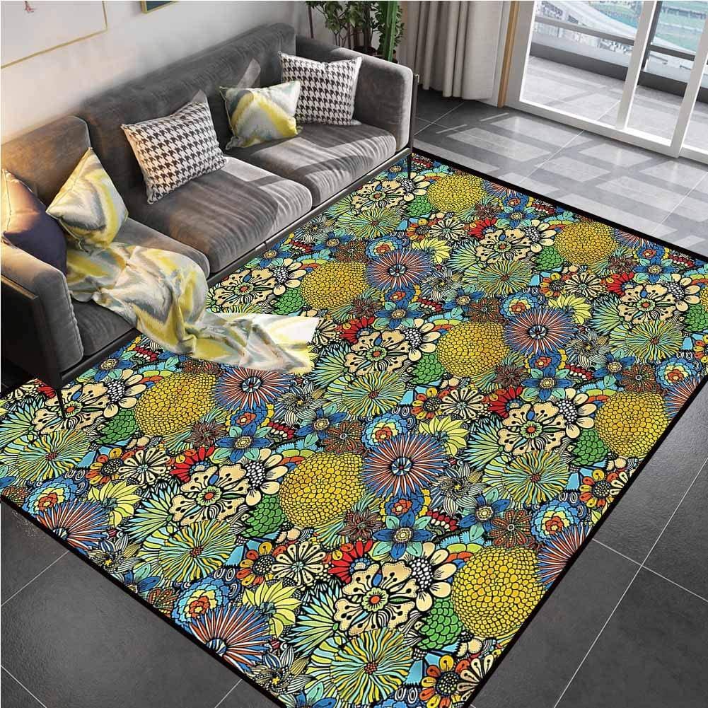 Area Rug Print Large Rug Mat Garden Art,Whimsical Florist Doodle Bathroom Rugs for Living Playing Dorm Room Bedroom 6'x8'