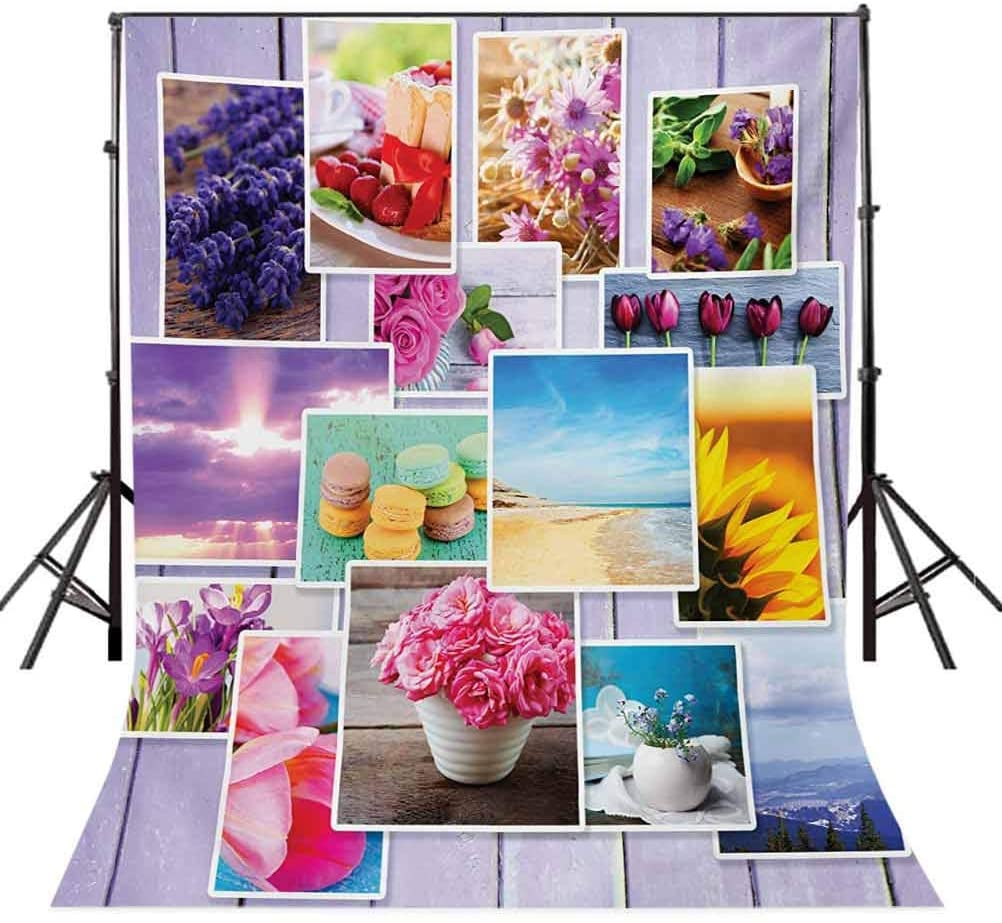 10x20 FT Backdrop Photographers,Collage of Different Photos on Wooden Flowers Macaroons Pastries Beach Background for Kid Baby Boy Girl Artistic Portrait Photo Shoot Studio Props Video Drape Vinyl
