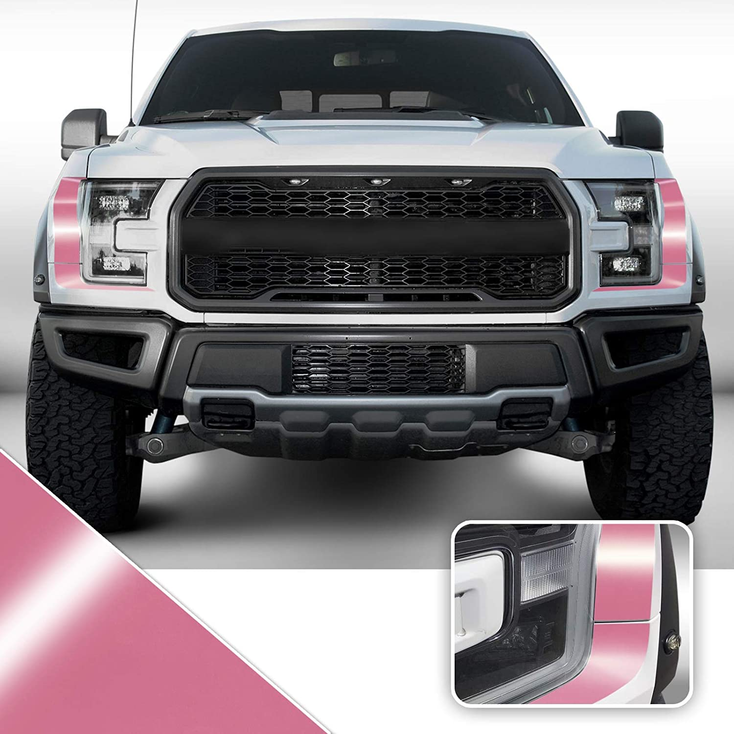 Headliight Accent Vinyl Graphic Overlay Wrap Kit Compatible with Ford F-150 Raptor 2018 2019 2020 - Gloss Pink
