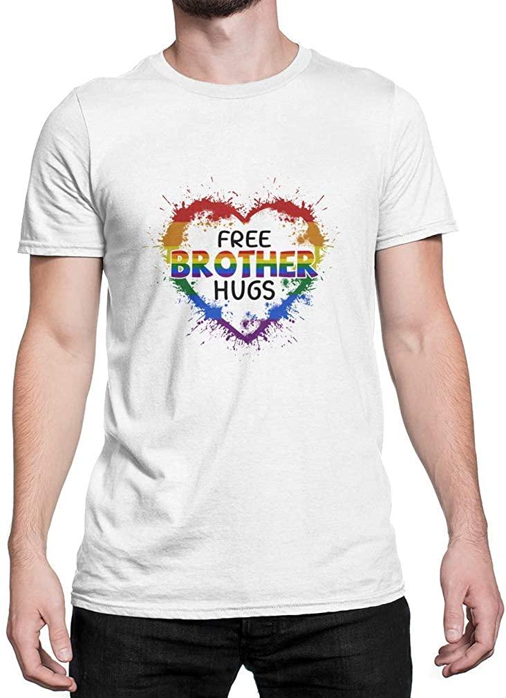 TEEBIM Free Brother Hugs LGBT Heart Gay Pride Gifts White T-Shirt Cotton Size S-3XL