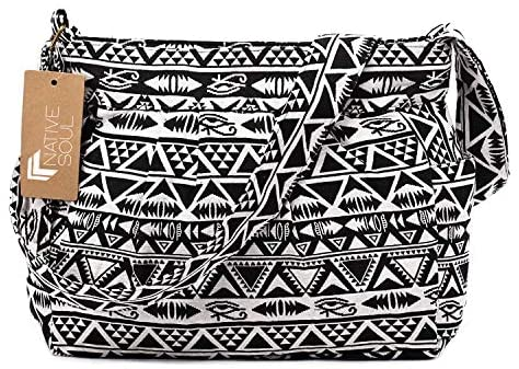 Egyptian Hieroglyph Tribal Pattern Women's Purse Soft Adjustable Shoulder Bag Eye of Ra Horus Egypt Symbol