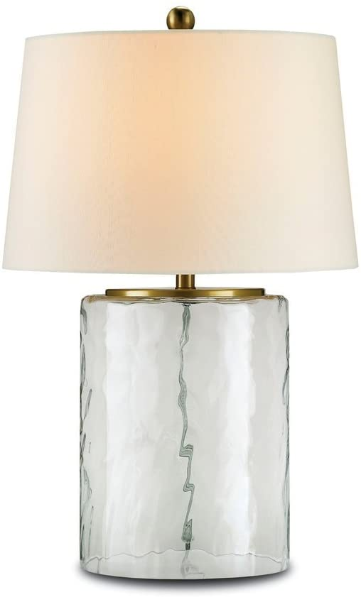 Currey Company 6197 Table Lamp with Off White Shantung Shades, Clear Glass and Brass Finished
