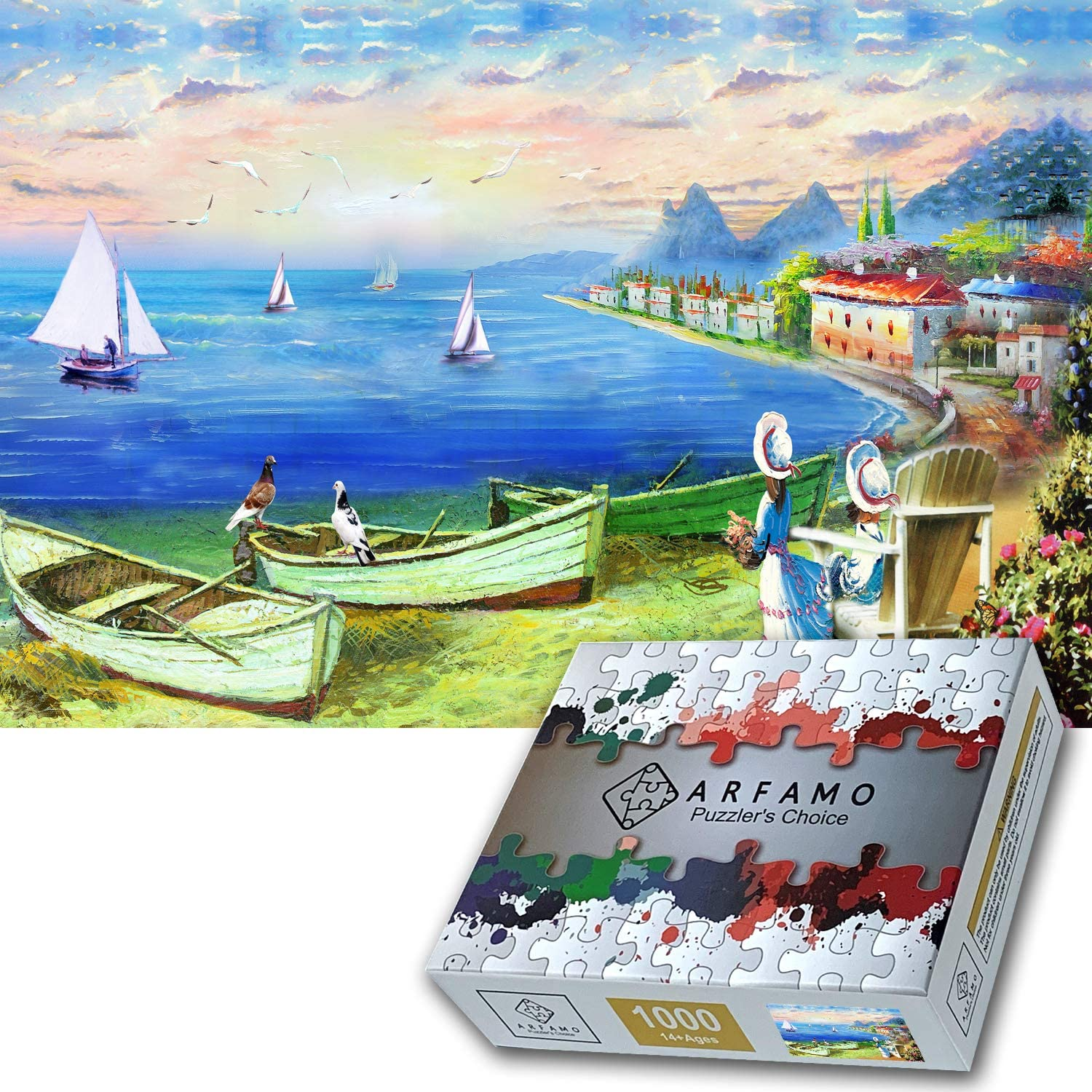 Arfamo Puzzles for Adults 1000 Piece Jigsaw Puzzles Challenging 1000 Piece Puzzle Educational Family Game DIY Mural Toys Gift for Adults Kids Teens Jigsaw Puzzles(Blue sea)