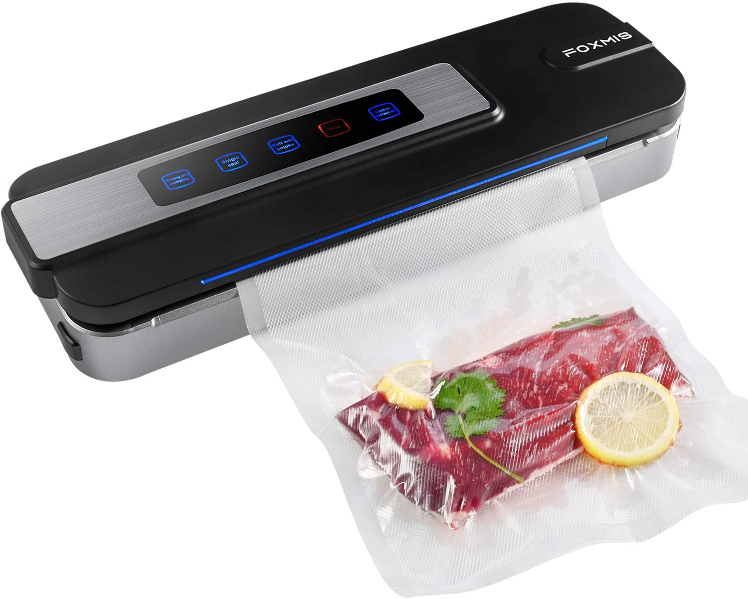 Vacuum Sealer Machine, Automatic and Manual Food Sealer Machine for Food Savers, Dry & Moist Mode Air Sealing System with 10 Sealing Bags for Food Preservation Storage, Compact Design for Sous Vide