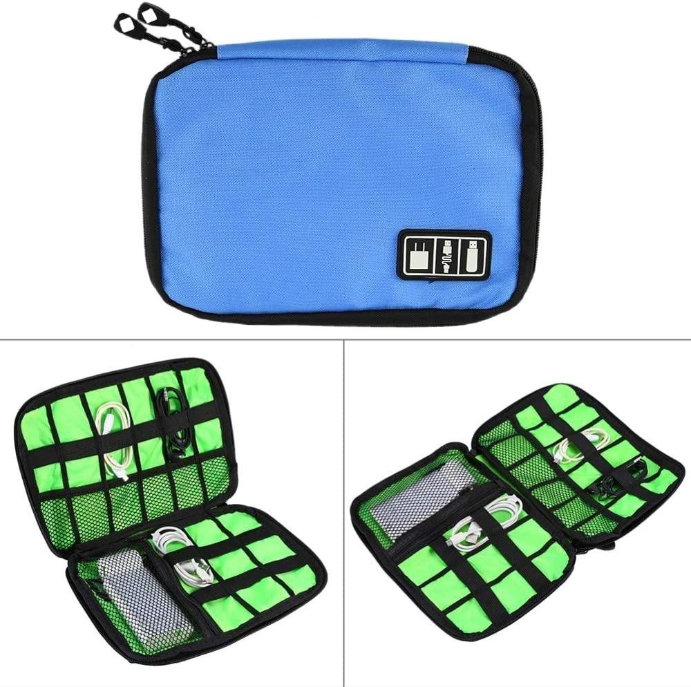 Store Portable Travel Organizer Storage Collection Bag Case Pouch Digital Gadget Electronic Accessories, Size: 25.718.51.2cm(Black). (Color : Blue)