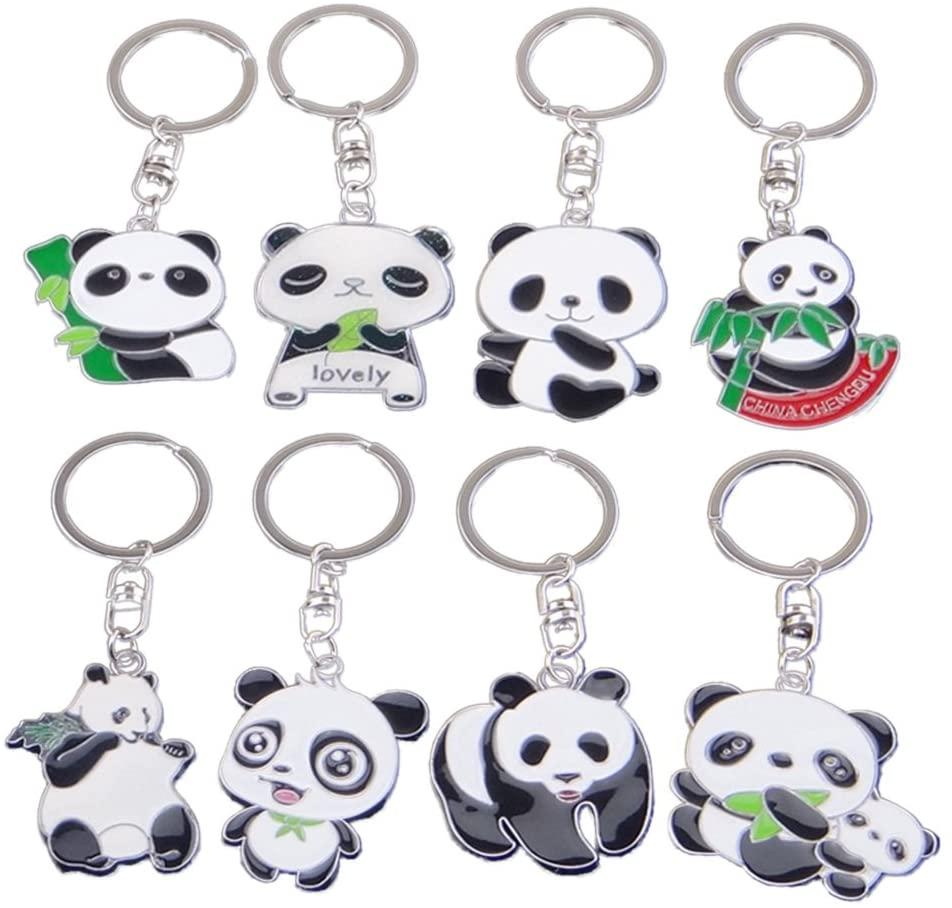 TOYMYTOY Set of 8 Cute Panda Key Chain Cartoon Pendant Keychain China National Treasure Panda Metal Keyring