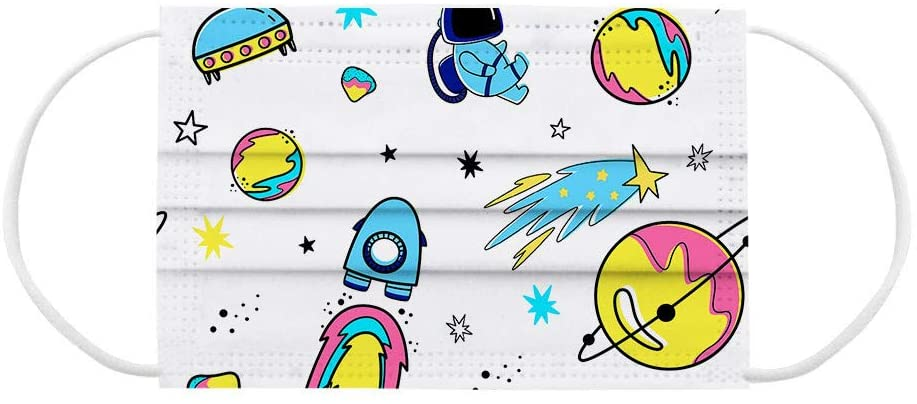 Tamquer Children's Face Cloth Disposable Aerospace Rocket Pattern Printed Face Bandanas Industrial 3Ply Ear Loop No Washable Breathable and Anti-Haze Dust for Kids
