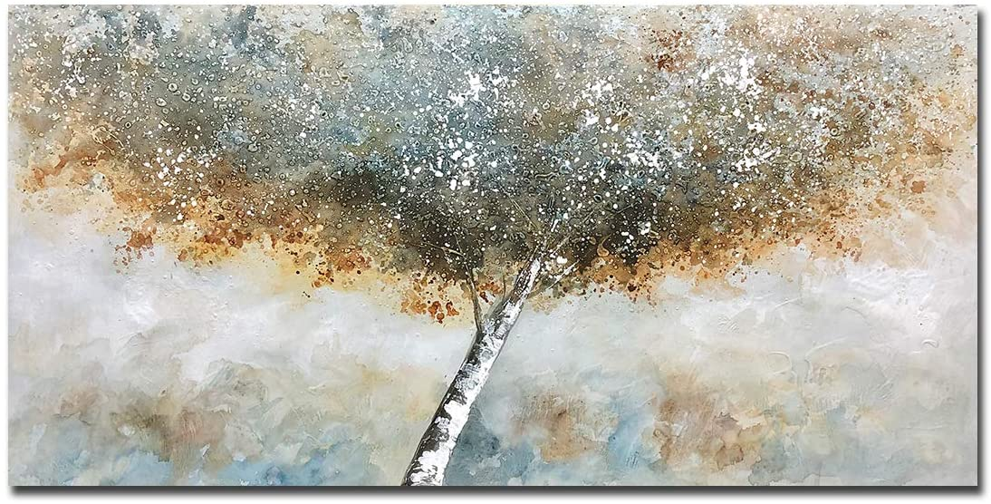 Boiee Art,24x48Inch 100% Hand-Painted Abstract Blossom Tree Oil on Canvas Paintings Modern Contemporary Artwork Tree of Life Painting Stretched and Framed Ready to Hang for Living Room for Wall Decor Home Decoration
