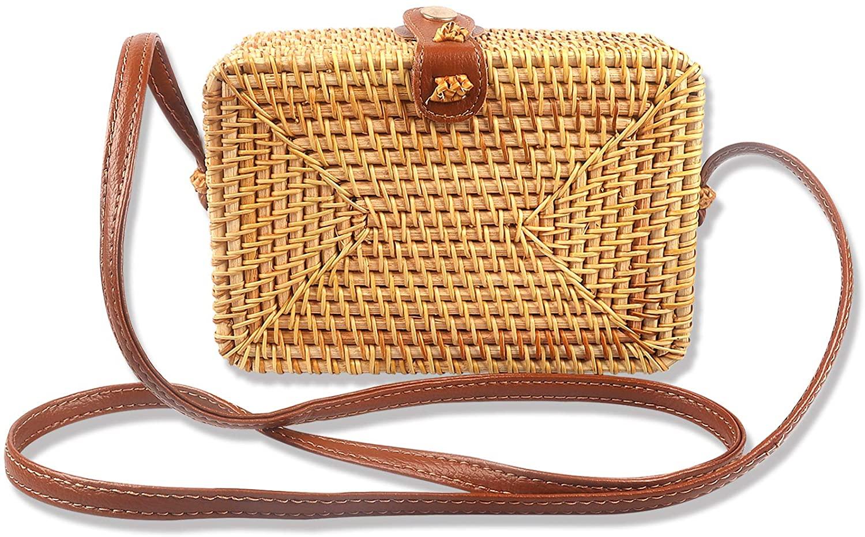DODOPEN Rattan Bags for Women - Handmade Handwoven Woven Ata Rattan Bag Colorful Batik Linen Inside