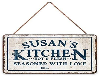 LPLED Personalized 6x12 Kitchen Decorations Wall Pantry Signs Customizable Name Rustic Wood Plaque Signs for Home Vintage Wall Decor Eat Sign (6