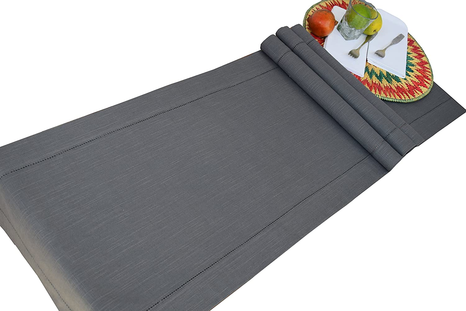 Linen Clubs Slub Cotton Hemstitched Table Runner - Charcoal 16x90