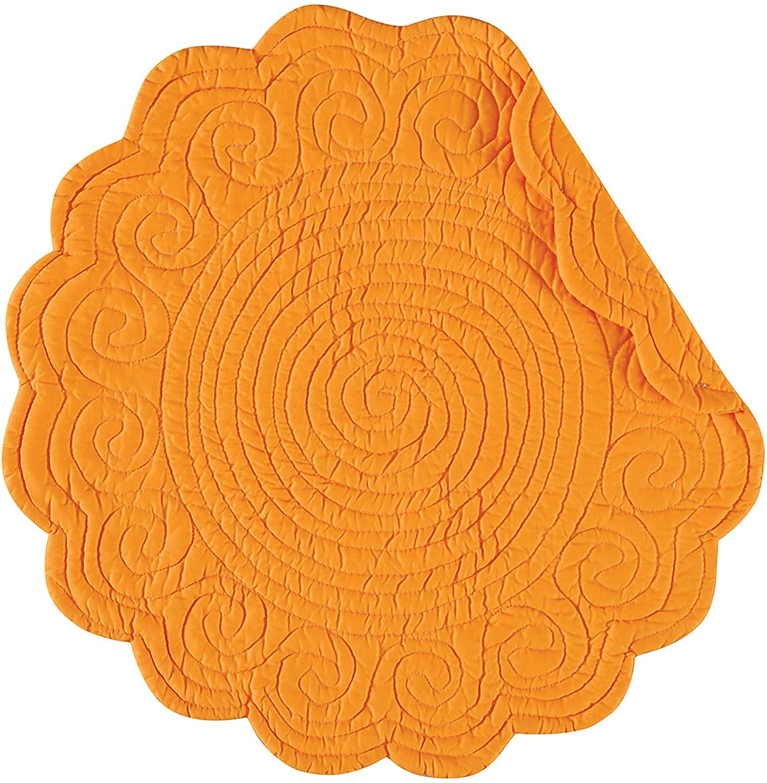 C&F Home Sunshine Orange Round Cotton Reversible Machine Washable Quilted Cotton Reversible Machine Washable Placemat Set of 4 Round Placemat Sunshine Orange