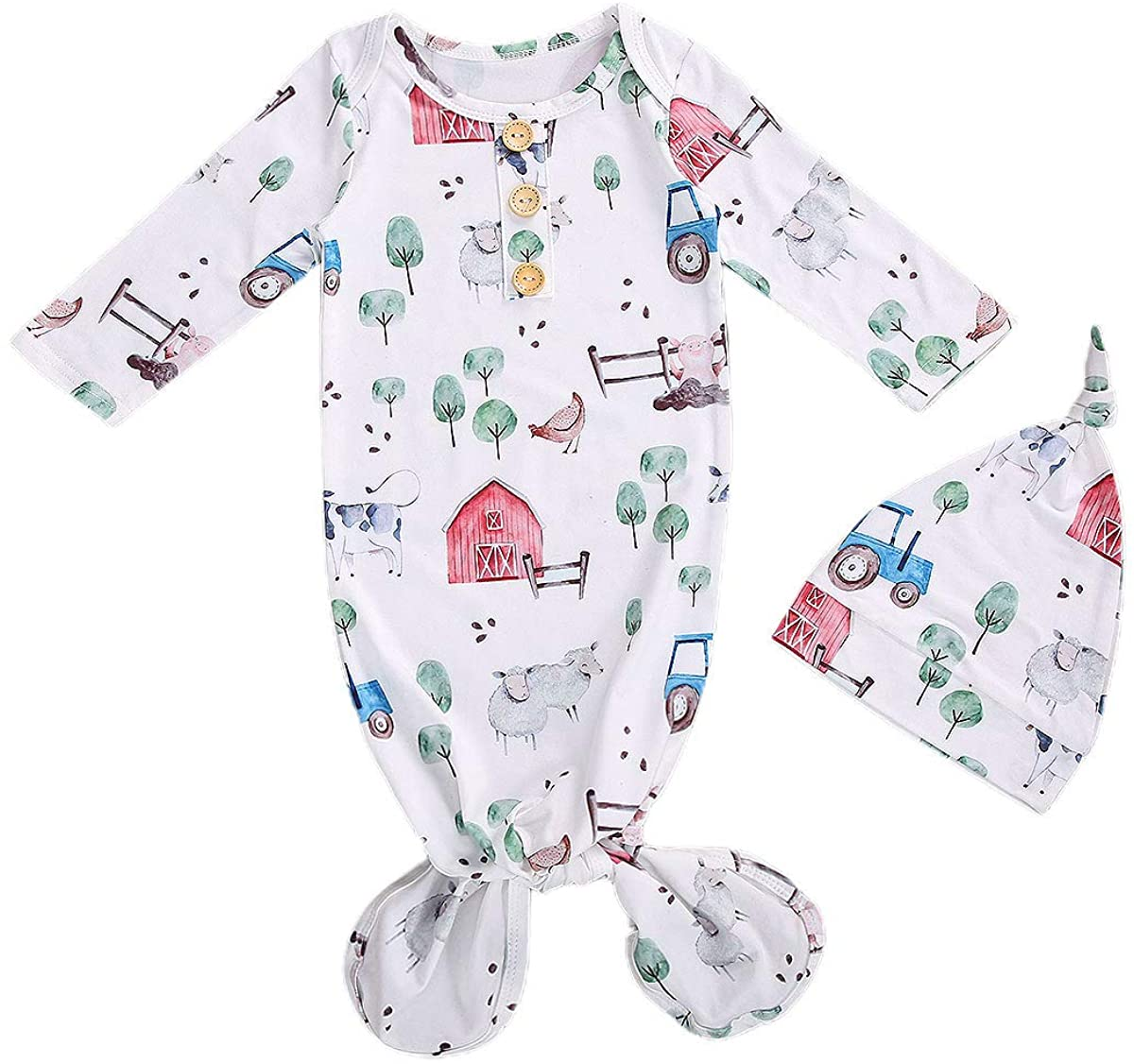 Newborn Baby Nightgown Coming Home Outfits Long Sleeve Sleeping Bags Pajama Set Swaddle Blanket Sleepwear