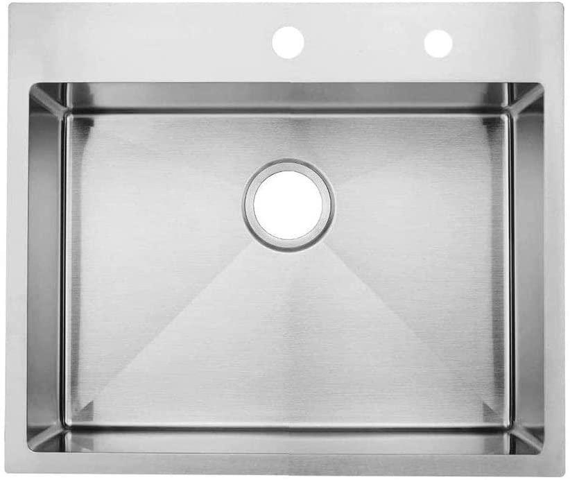 KINGO HOME Commercial 25x 22 Inch 18 Gauge Topmount 304 Stainless Steel Handmade Drop In Single Bowl Kitchen Sink Brushed Nickel