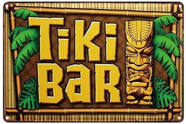 Mega-deal Hawaii Beach Style Tiki Bar Decorative Tin Sign Tropical Plaque with Tiki God Totem and Palm Tree 12