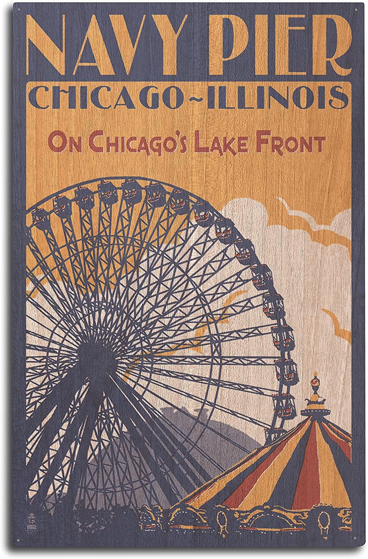 Lantern Press Chicago Illinois - Navy Pier (10x15 Wood Wall Sign, Wall Decor Ready to Hang)