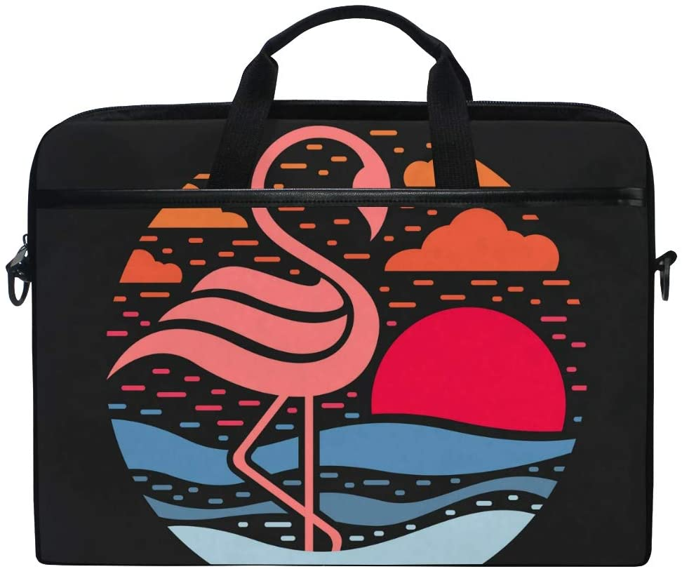 MRMIAN Flamingo on The Beach Abstract Vintage Laptop Case Bag Sleeve Portable/Crossbody Messenger Briefcase Convertible w/Strap Pocket for MacBook Air/Pro Surface Dell ASUS hp Lenovo 15-15.4 inch