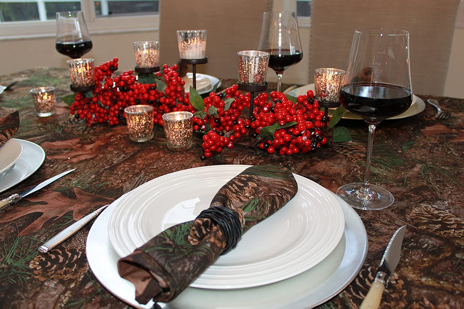 Celebration Tablecloths 70 x 84 Inch Mixed Pine True Timber Christmas Tablecloth Restaurant Quality Fabric Machine Wash and Dry No Wrinkles No Iron No Stains Cabin Decor Fall Holiday Thanksg