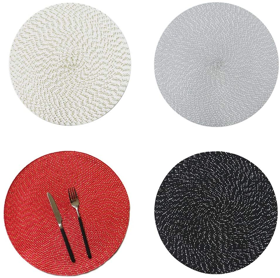 UUME PP Wire Woven Placemat Round Oval Woven Placemat Kitchen Dinner Handmade Pad Non-Slip Table Decoration(M,white)