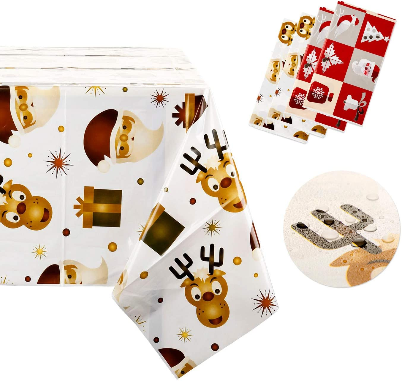 Mangsen 4 Pack Disposable Christmas Tablecloth 70.9 x 43.3 Inch Cartoon Printed Waterproof Plastic Oblong Party Tablecloth for Rectangle Table