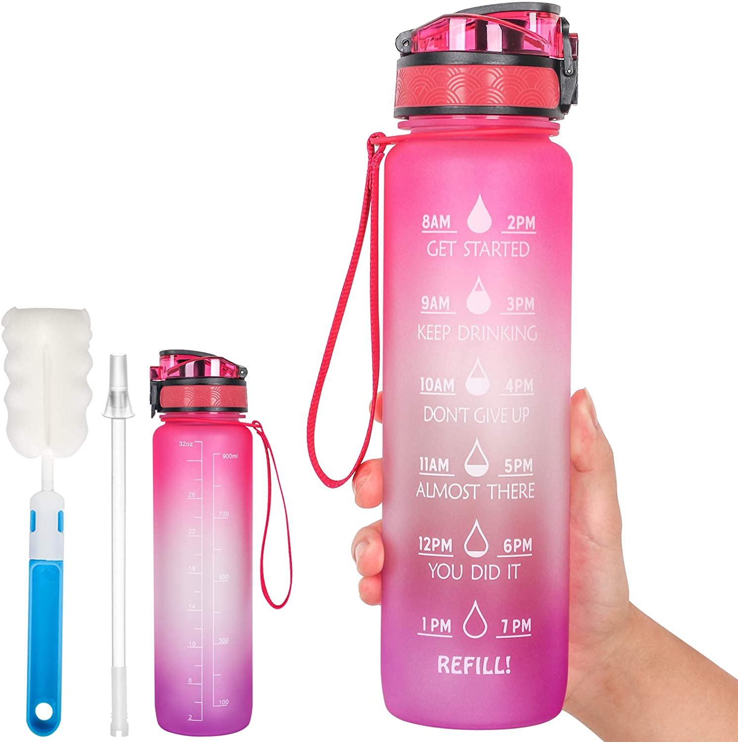 N - A 32oz Water Bottles with Time Marker to Drink BPA Free Non-Toxic Wide Mouth Leakproof Motivational Sports Water Jug with Removable Straw Strainer for Gym Workout Outdoors