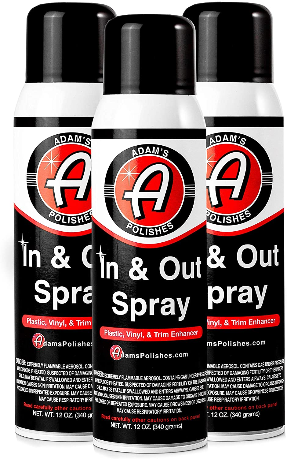 Adam's in and Out Spray - Ultimate Solution for Dressing Those Hard to Reach Areas Around Your Car - Dark, Rich, Longer Lasting Shine (3 Pack)