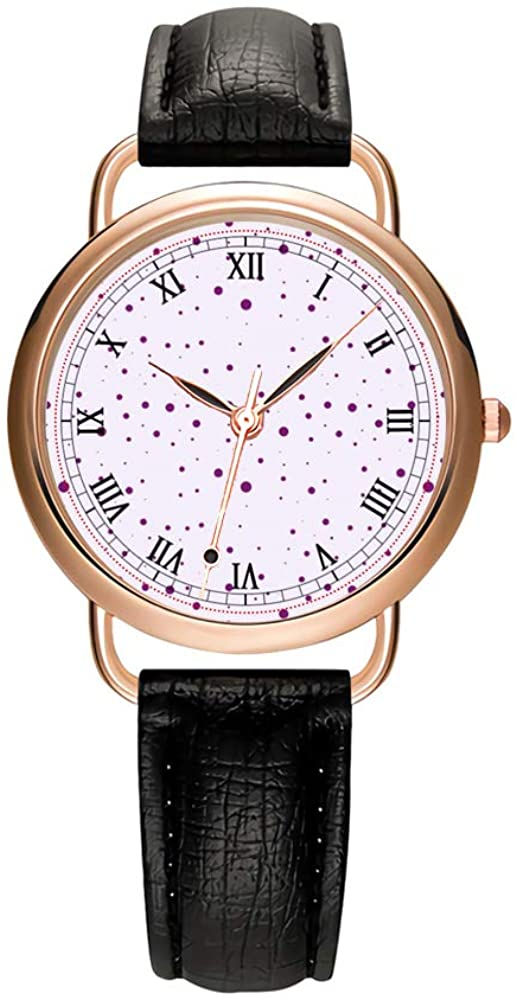 Women's Watches Brand Luxury Fashion Ladies Watch White and Black Leather Band Gold Quartz Wristwatch Female Gifts Clock Purple and Lilac Speckled Wristwatches
