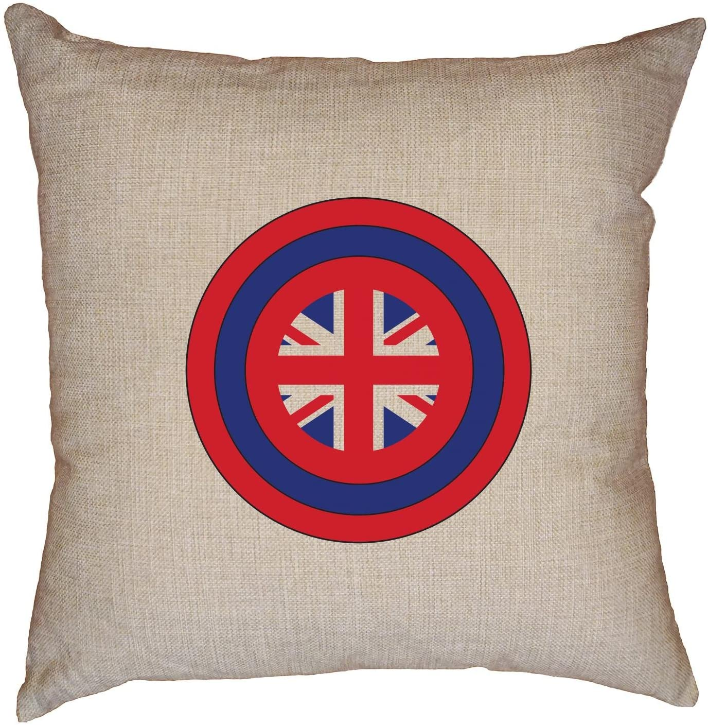 Cool Captain Great Britain Shield in America Decorative Linen Throw Cushion Pillow Case with Insert