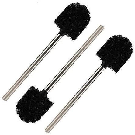 Set of 3 Vegena Toilet Brushes Black with Stainless Steel Handle Replaceable Toilet Brush Head Replacement Toilet Brush Stainless Steel Handle 25 cm Diameter 8 cm
