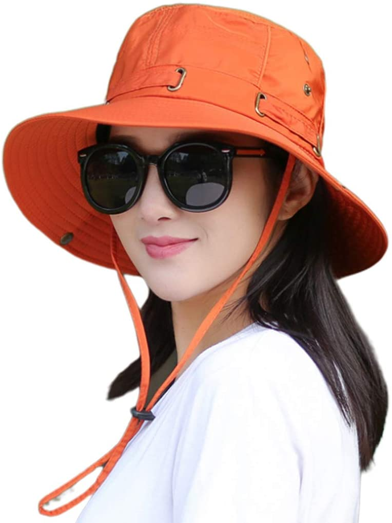 suoryisrty Women Men Summer Fishing Bonnie Hat UV Protection Wide Brim Foldable Camping Hiking Travel Beach Cap with Chin Strap Orange