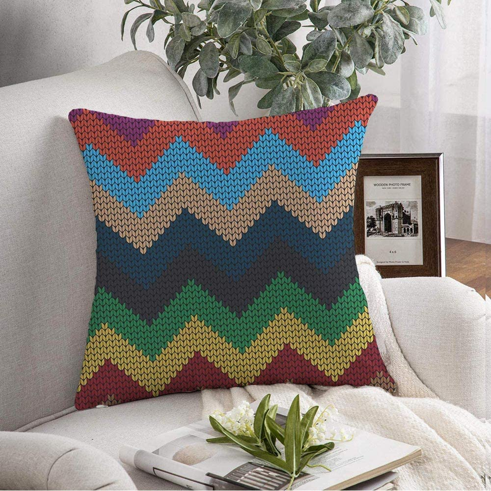 Starobkn Decorative Pillow Cover Cushion Cover Autumn Varicolored Zigzag Loop Season Material Pattern Awaresome Detail Elegant Craft Handmade Soft Square Pillowcase for Sofa Living Room 18x18 Inch