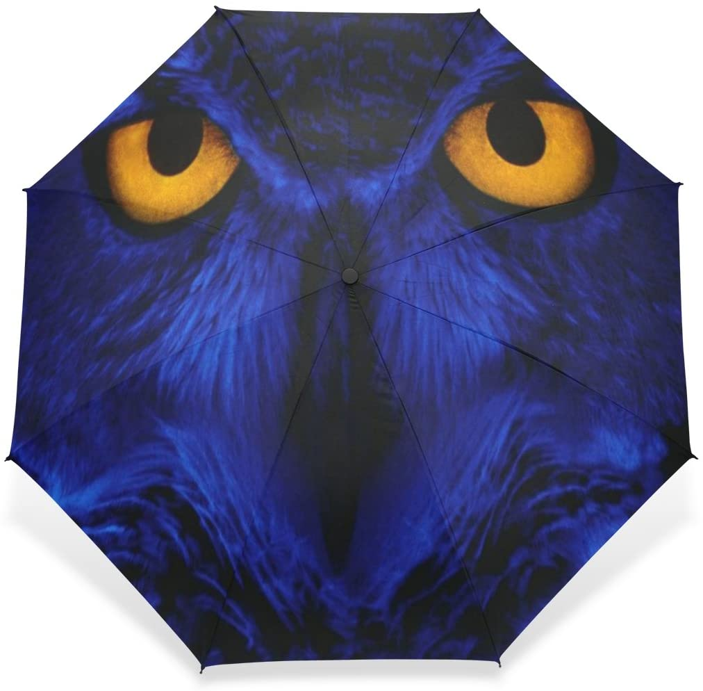 BAIHUISHOP Windproof Golf Umbrella, Compact for Travel By Easy Carrying Sports Rain Umbrella - Strong Frame Unbreakable Blue Owl Pattern