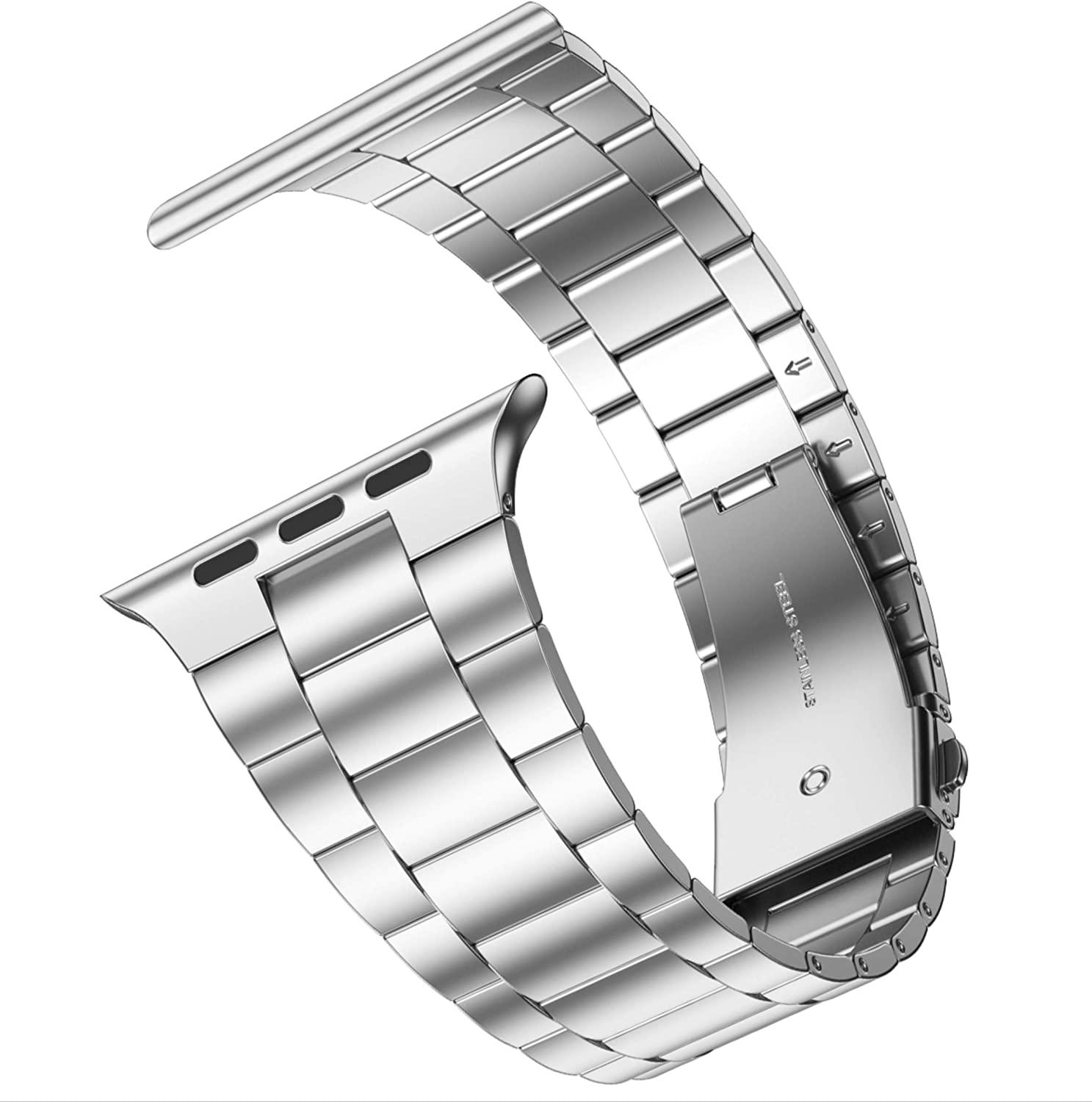 [Upgraded] Wolait Compatible with Apple Watch Band 40mm 38mm , Ultra Thin Solid Stainless Steel Band for Apple iWatch SE Series 6/5/4/3/2/1 Men Women -Silver