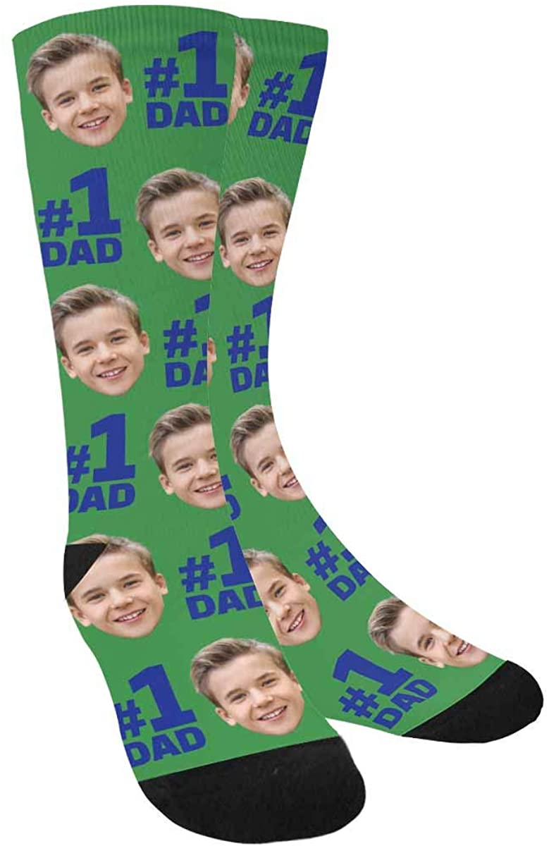 Custom Face Socks, Funny Socks with Faces Father's Day Is Dad's Day White Crew Socks Unisex