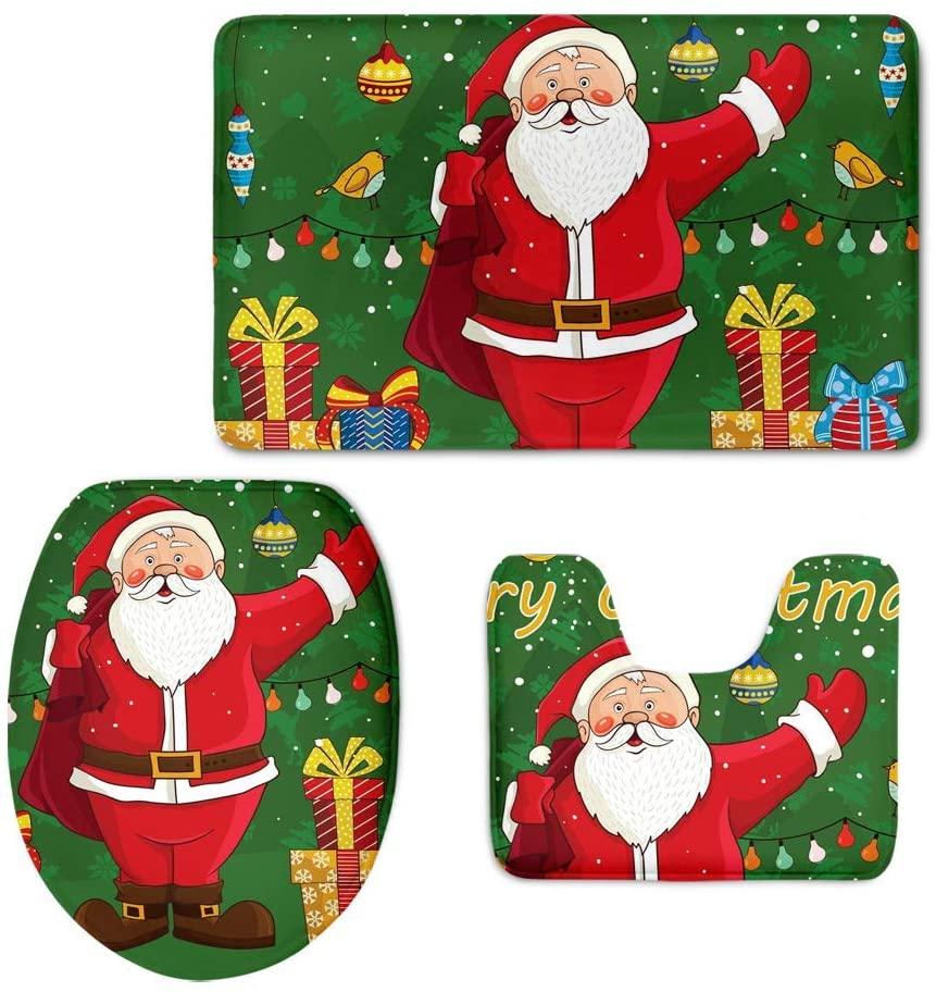 chaqlin 3 Piece Bath Mat Set Soft Non-Slip Bathroom Mats Rug Lid Toilet Cover,Green Santa Claus Printing Rug for Christmas Decoration Gift Green